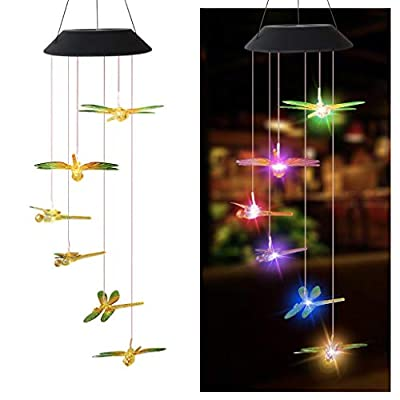 Solar Wind Chimes Outdoor, Color Changing Solar Powered Waterproof LED Windchime Hanging Lamp for Outdoor Garden Festival Decoration, Ideal Gifts for Mom Birthday Christmas (Dragonfly painted)