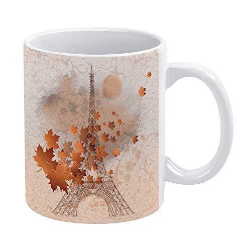N\A Divertida Taza de café o té, Regalar o coleccionar, Tazas de café de 11 oz-Vintage Paris Eiffel