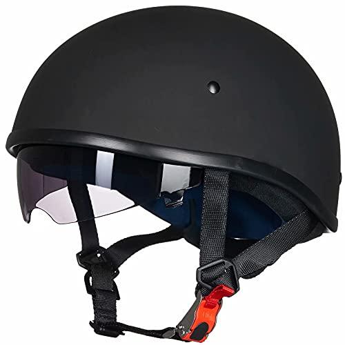 Auboa Half Helmet Motorcycle Men, Cycling Motocross Cruiser Open Face Helmet Sun Visor Quick Dual...