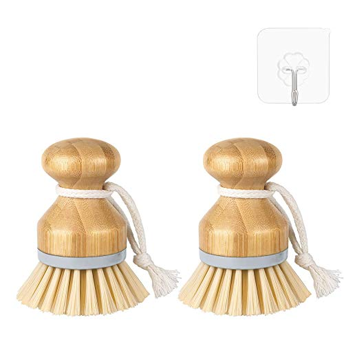 QOMJT Bamboo Round Mini Scrub BrushBamboo Dish Scrub Brushes Dish Brush,Kitchen 4 inch Wooden Cleaning Scrub Brush for DishesPans Vegetablesfor Kitchen Sink Household CleaningPack of 2