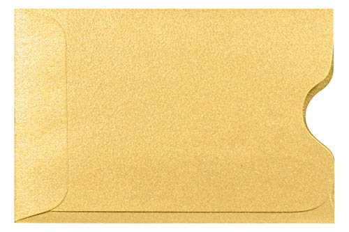 LUXPaper Credit Card Sleeves in 80 lb. Gold Metallic, Card Holders for Gift Cards, 50 Pack, Size 2 3/8 x 3 1/2 (Gold)