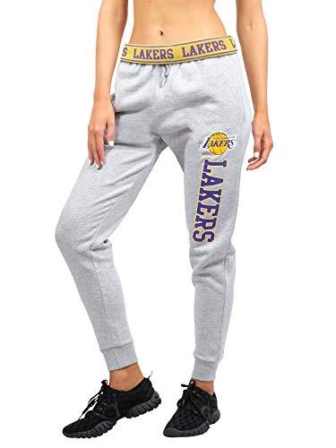 Ultra Game NBA Los Angeles Lakers Womens Jogger Pants Active Basic Fleece Sweatpants , Heather Gray, Large