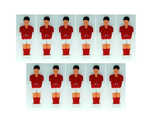 Kickerfigur Home für Stangen mit 13mm im Team-Set mit 11 Figuren (rot/weiß)