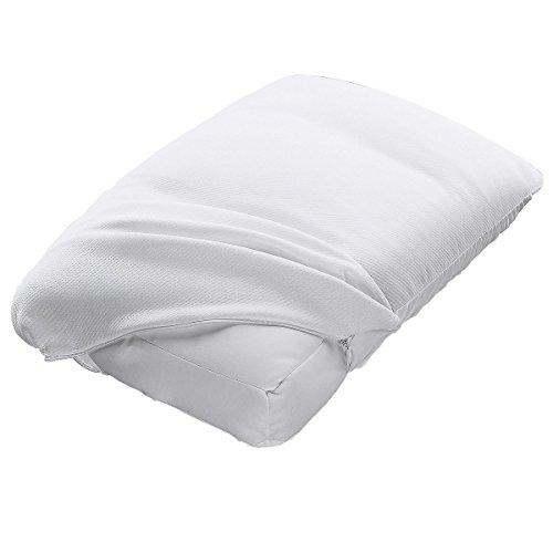 vivaDOMO Komfort-Kissen, Kopfkissen mit Mikro-Kügelchen- Füllung, Schlafkissen Nackenstützkissen Wohlfühlkissen, Dreikammer-System, 45x 34x 10 cm