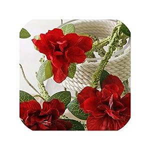 Silk Flower Arrangements Artificial Flowers Branch Fake Flower Azaleas Foaming Rattan Silk Flower Orchid for Wedding Home Table Decoration 90cm,red