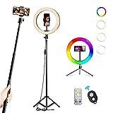 RGB Anillo de Luz LED, ACTION Aro de Luz con 2 Trípodes, Control Remoto Bluetooth, 26 RGB Colores Regulable, 9 Niveles de Brillo y 3 Modos de Luz, para Selfie Maquillaje Youtube TIK Tok