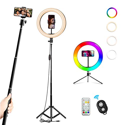 Aro de Luz con 2 Trípodes 10' RGB Anillo de Luz LED Aro de Luz para Movil Control Remoto Inalámbrico 22 Colores 10 Brillos Altura Regulable 130cm para Selfie Maquillaje Youtube TIK Tok