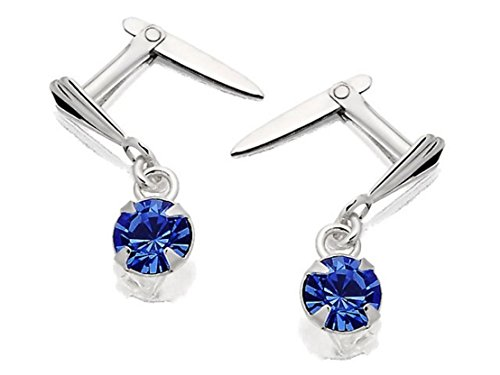 Andralok Womens Sterling Silver Blue Crystal Andralok Drop Earrings - 13mm Drop