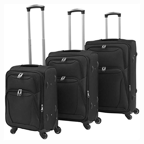 Why Choose K&A Company Suitcase, 3 Piece Soft Case Trolley Set Black