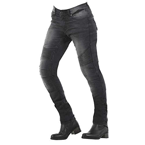 V'QUATTRO DESIGN Overlap Imola - Pantalones Vaqueros para Mujer, homologados para Carretera, Gris/Azul, Talla 24