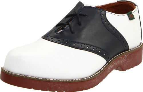 SCHOOL ISSUE Women's Saddle Oxford, White/Navy, 6 Wide