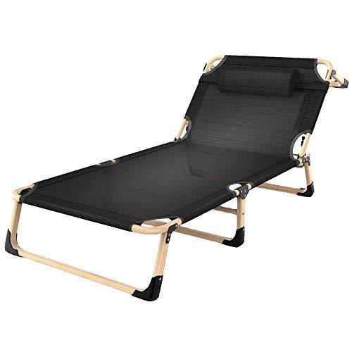 Mopoq Liegestuhl Liegestuhl, Klappbett Bettwäsche Einfach Begleitperson Mittagsschlaf Bett Camp Office Portable Klappstühle 194x68x30cm (Color : Black)