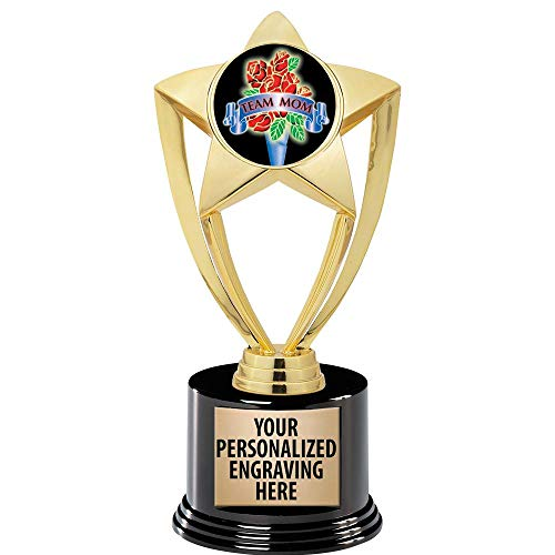 """Crown Awards Team Mom Trophy, 8"""" Gold Star Team Mom Trophies with Deluxe Round Base 50 Pack Prime"""