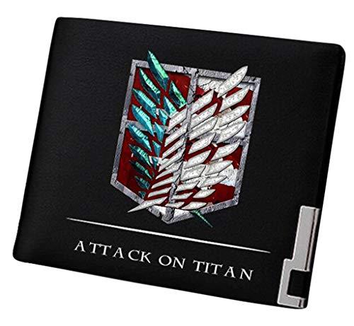 Cosstars Attack on Titan Anime Cartera Hombre Cuero Artificial Billetera Portatarjetas Slim Wallet Negro /3