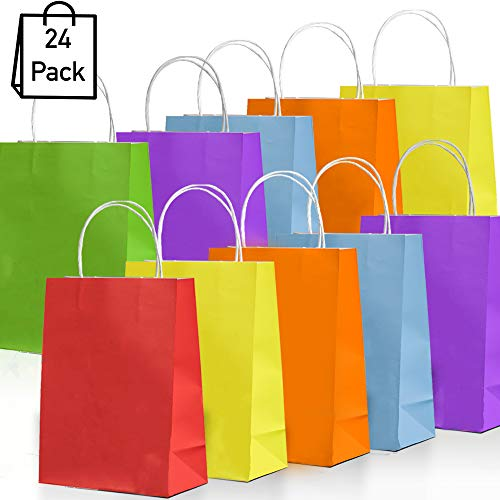 NIMU 24 Pieces Rainbow Colors Paper Bags With Handles All In One Pack Assorted Colorful 6 Colors Ideal For Gift Treat Favors Tea Party, Gift, Wedding Celebration, Multi-Use Boys Girls Kids Prime