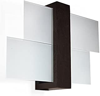 NOUVEAUTÉ ! Applique wengé pour salon et antichambre – verre et bois - SOLLUX FENIKS 1 SL.0075 lampe murale carrée moderne...