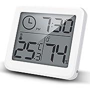 iKALULA Digitales Thermometer Hygrometer, Digital Thermo-Hygrometer HD-Anzeige Thermometer Hygrometer tragbares Temperatur Luftfeuchtigkeit zur Raumklimakontrolle für Babyraum, Wohnzimmer, Auto, Weiß