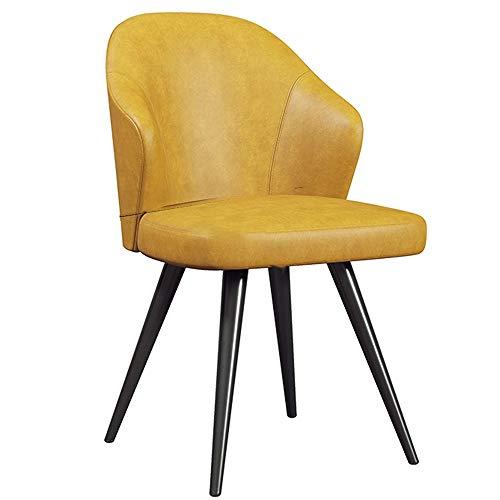 WHOJA Sillas de Comedor Silla de concha de PU Respaldo ergonómico silla de la cocina de hierro forjado Teniendo peso 150 kg for Interior y exterior Sillas de esquina (Color : Yellow)