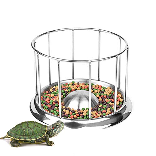 Gobbuy Turtle Feeder Acier Inoxydable pour Bassin Aquarium Turtles Bassin Alimentaire Distributeur De Nourriture en Acier Inoxydable Turtle Feeder Bol Outil d'alimentation Reptile Pet