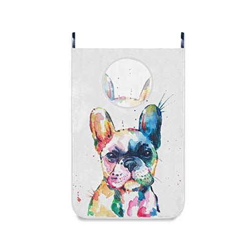 Watercolor French Bulldog Hanging Laundry Hamper Bag Dirty Clothes Bag,Over The Door Cloth Basket with Hooks, for Bathroom, Bedroom, Storage, Space Saving, Wall, College, Closet, Behind Doors