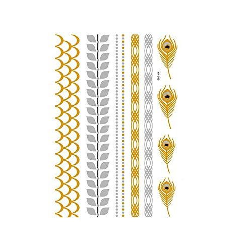 Autocollants de tatouage bronzage rétro autocollants de tatouage imperméables ensemble autocollants d'impression de couleur argent chaud-YH-049_148 * 210MM
