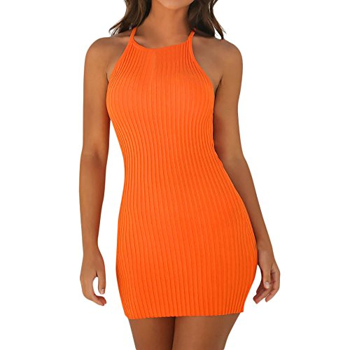 TWIFER Ärmellose Mode Club Party Bandage Kleider für Damen Spaghetti String Mini Dress(Orange,M)