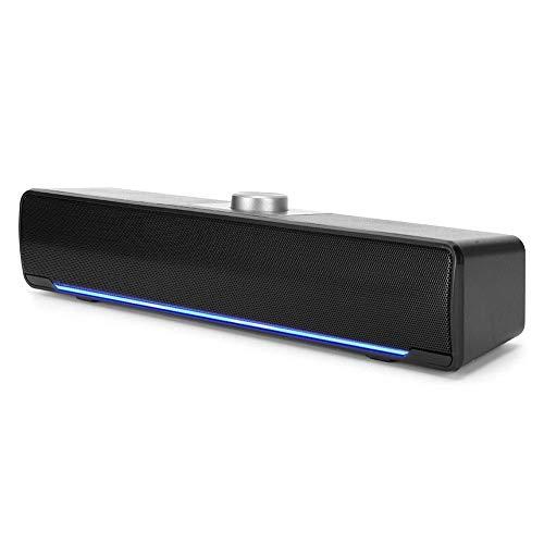 Garsentx Barras de Sonido, 3W 2.0 Canales Mini Multimedia Soundbars Altavoz con DSP Bass Technology Notebook para Home Theater, TV, PC, etc.(Negro)
