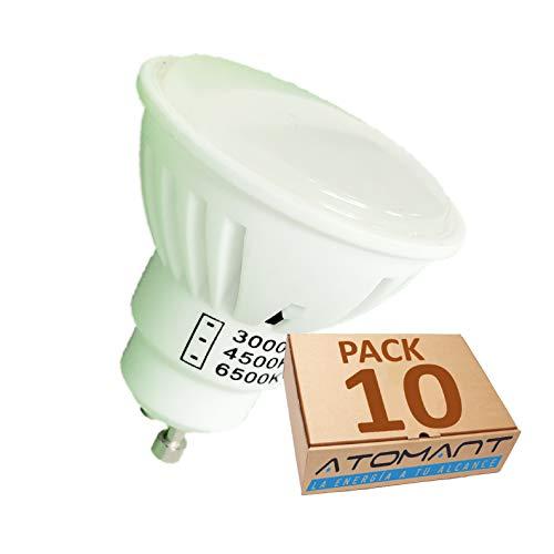 Pack 10x GU10 LED 7w CCT. Color Blanco Intercambiable a Elegir 3000K/4500K/6500K. 900 Lumenes en cada color. A++