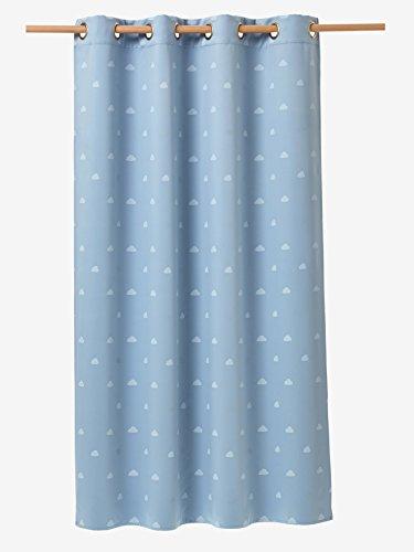 Vertbaudet Verdunkelungsvorhang mit Wolken und Schafen blau/weiß 135X180