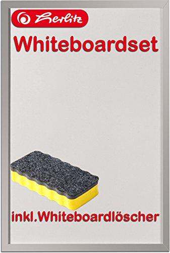 Herlitz 10524627 Whiteboard und Magnettafel, 40 x 60cm / Kombi-Set (+ Löscher, gelb)