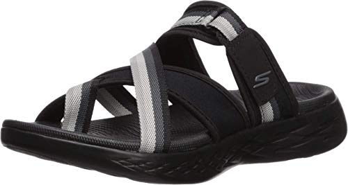 Skechers Women's ON-The-GO 600-SUMMIT Slide Sandal, Black/Gray, 5 M US