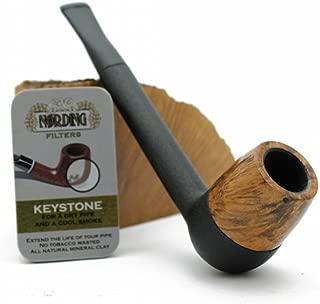 Nording Keystone Natural Black Brown Rustic Briar Pipe Kit with Filters New (Natural Briar)