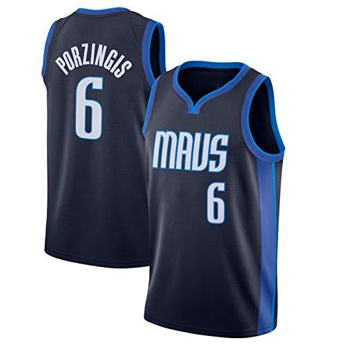 BJZX Porzingis Mavericks #6 Herren Basketball Trikot 2020/21 Saison Earned Edition Swingman Trikots Halbarm Frühling Sommer Outdoor Sportswear XL