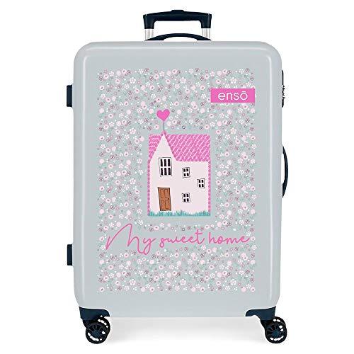 Enso My Sweet Home Medium Blue Suitcase 48 x 68 x 26 cm Rigid ABS Side Combination Closure 70L 2.7 kg 4 Double Wheels