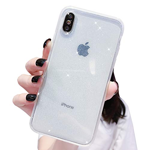 Anynve iPhone X/XS Case, Clear Glitter Bling Sparkle Case [ Anti-Shock Matte Edge Bumper Design] Cute Slim Soft Silicone Gel Case Compatible for Apple iPhone X/Xs 5.8''-Clear