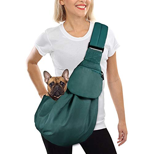 AUTOWT Dog Padded Papoose Sling, Small Pet Sling Carrier Hands Free Carry Adjustable Shoulder Strap Reversible Outdoor Tote Bag with a Pocket Safety Belt Dog Cat Carrying Traveling Subway (Green)