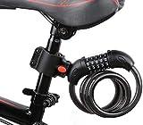 Foloda 自転車ロック ledライト付き 長1200mm 横断面直径12mm カギ不要 自由設定 ブラケット付き 携帯便利 頑丈 盗難防止に!