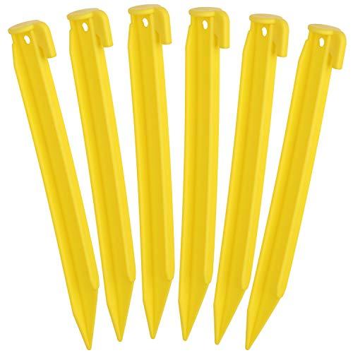 com-four 6X piquetas de plástico para Carpa - piquetas para Acampar y al Aire Libre - Ideales para Suelo Normal