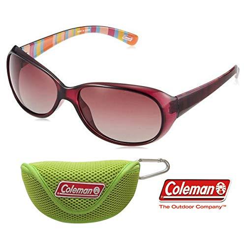【グリーンソフトケース付】レディース Coleman コールマン 偏光サングラス スモーク ドライブ ストライプ柄 おしゃれ Coleman CLA01-3