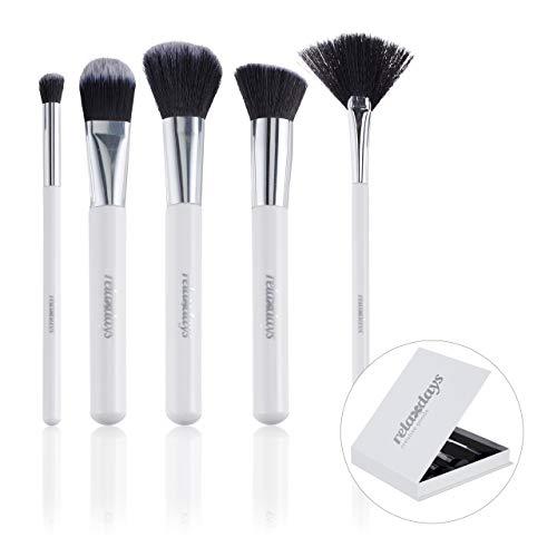 Relaxdays Pinselset Makeup, 5-teilig, in edler Aufbewahrungsbox, mit Rouge-, Highlighter-, Contour-...