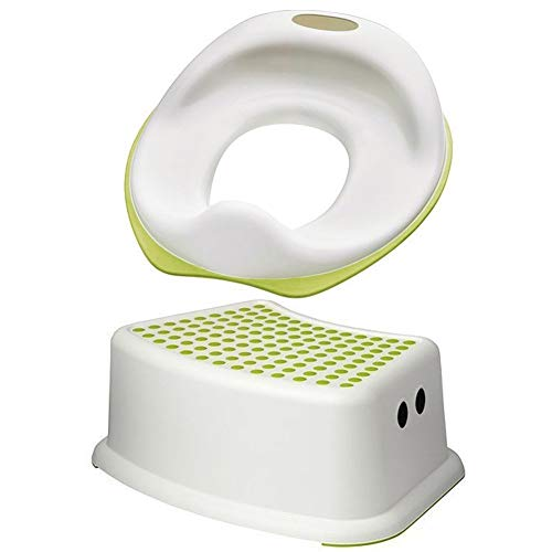 Ikea Tossig 102.727.88 Unisex Toddler Toilet Training Seat Bundled with Forsiktig 602.484.18 Step Stool Seat White and Green