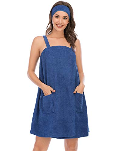 Terry Cloth Spa Wrap for Ladies Gym Shower Towel with Adjustable Closure & Elastic (M,Blue)