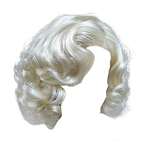 Frauen Kurze Lockige Synthetische Perücken - 1920 Flapper Mädchen Mode Marilyn Monroe Cosplay Halloween Motto Party Platinum Blonde Haare