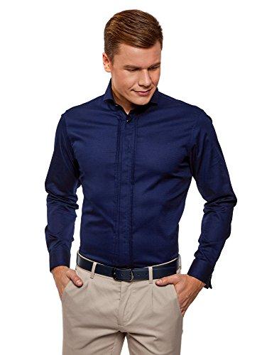 oodji Ultra Hombre Camisa Entallada con Puños para Gemelos, Azul, 40