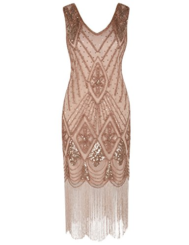 PrettyGuide Women 1920s 1920s Gatsby Cocktail Sequin Art Deco Flapper Dress XL Rose Gold