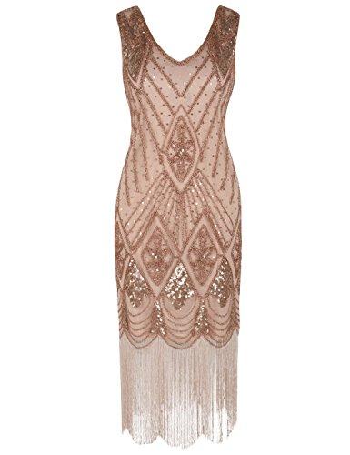 PrettyGuide Women 1920s 1920s Gatsby Cocktail Sequin Art Deco Flapper Dress S Rose Gold