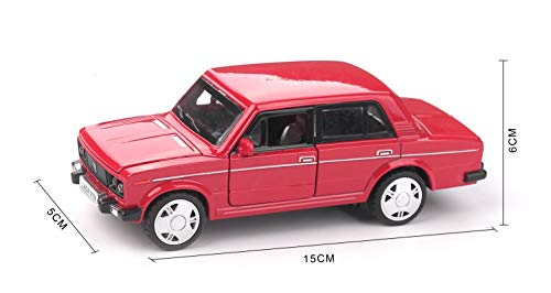 emosq 1:30 Scale Detailed Alloy Diecast Replica Toy Vehicles Mould Scale Car Toy Pull Back Action with Light and Music 3+ Battery Included (Red Classic Lada Russian Car)