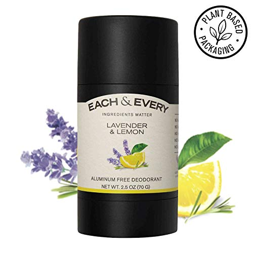 Each & Every Natural Aluminum-Free Deodorant for Sensitive Skin Made with Essential Oils, Plant-Based Packaging, Lavender & Lemon, 2.5 Oz.
