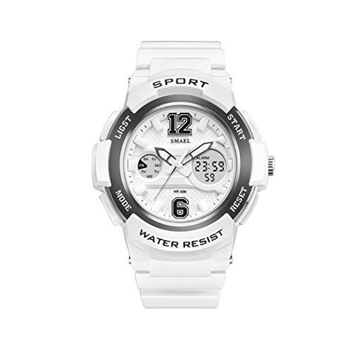 Mujer Relojes, Lananas Deportes Estilo 3D Marcar Calendario Impermeable LED Ligero Relojes de Pulsera Women Watches (Blanco+Gris)