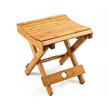 100% Natural Bamboo Folding Stool For Shaving Shower Foot Rest 12 ,Fully Assembled